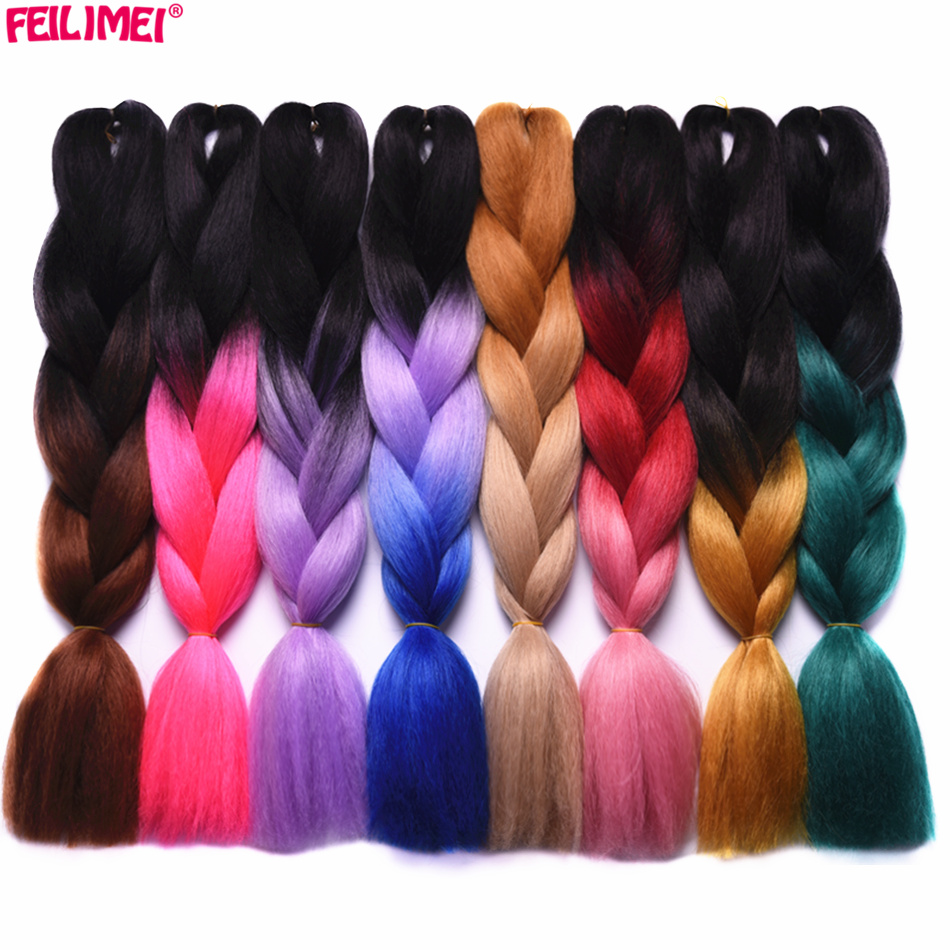 Hair Extensions & Wigs Radient Feilimei Ombre Gray Braiding Hair Extensions Synthetic Jumbo Braids 100g/pc Green/purple/blue/blonde/pink Crochet Hair Bundles Volume Large Jumbo Braids