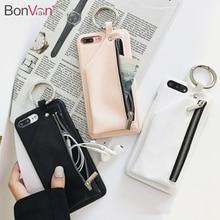 BONVAN For iPhone 8 Case Leather Luxury Zipper Handbag Wallet Phone Cases