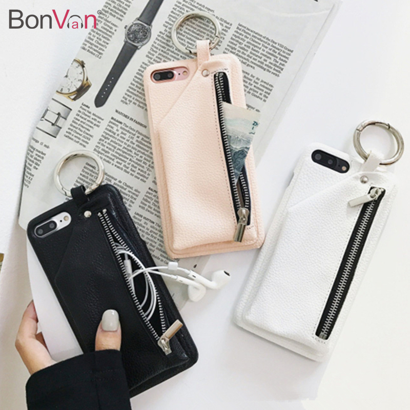 BONVAN For iPhone X 8 Case Leather Luxury Zipper Handbag Wallet Phone Cases For iPhone 7 6S 6 8 Plus Bag Ring Hard PC Back Cover