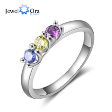 Customized 925 Sterling Silver Birthstone Rings for Women Fashion Wedding Ring Personalized Gift Jewelry (JewelOra RI103807)