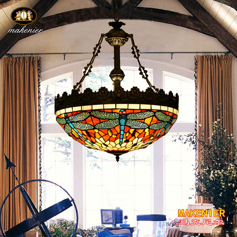 Makenier Vintage Tiffany Style Stained Glass Red Dragonfly Inverted Ceiling Pendant Lamp, 20 Inches Lampshade 16inch antique agate jade dragonfly stained glass lampshade tiffany pendant lamp country style bedside lamp e27 110 240v