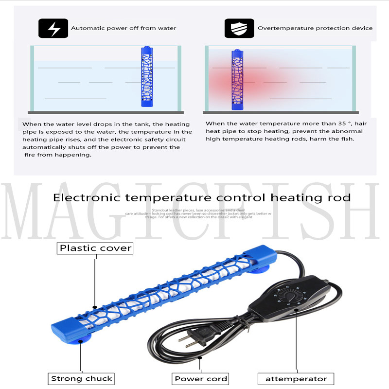 Sunsun Aquarium Heater Quartz Heating Rods Thermostatic Heater Fish Tank  Heater Temperature Controller 24-32 Degree