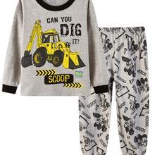 Kids Pajamas Cartoon Printed Boys Girls Long Sleeve Tops and Pants Sleepwear Nig