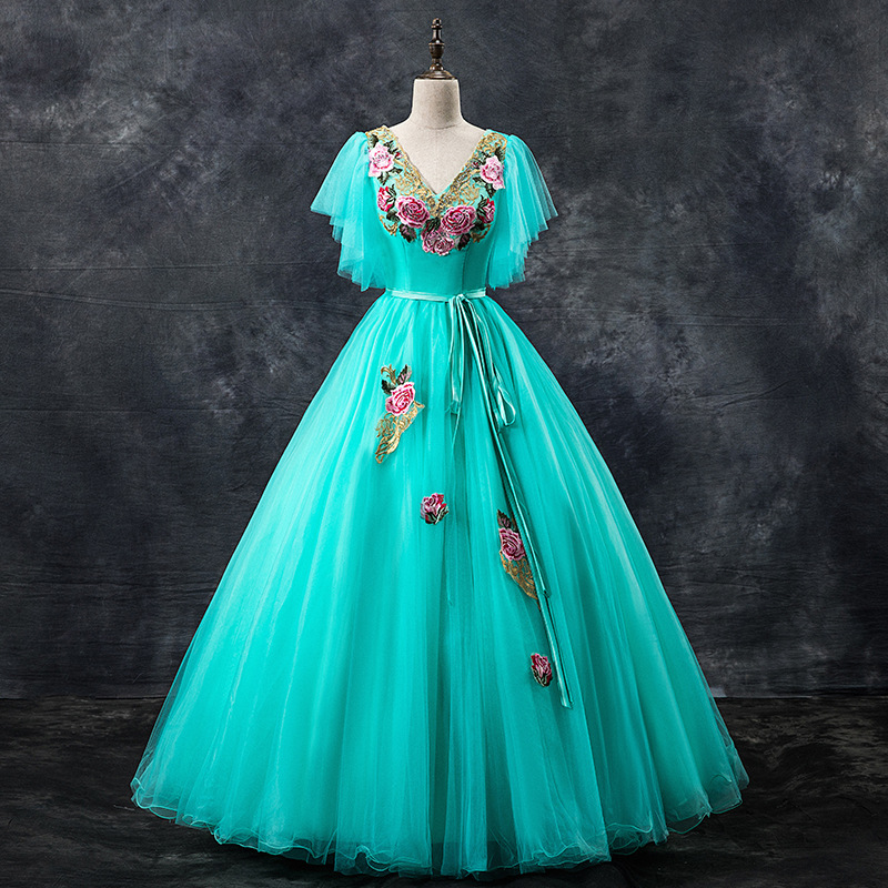 Prom Dress 2020 Mrs Win The Elegant V-neck Floral Print Lace Embroidery Party Prom Formal Gown Homcoming Dresses F