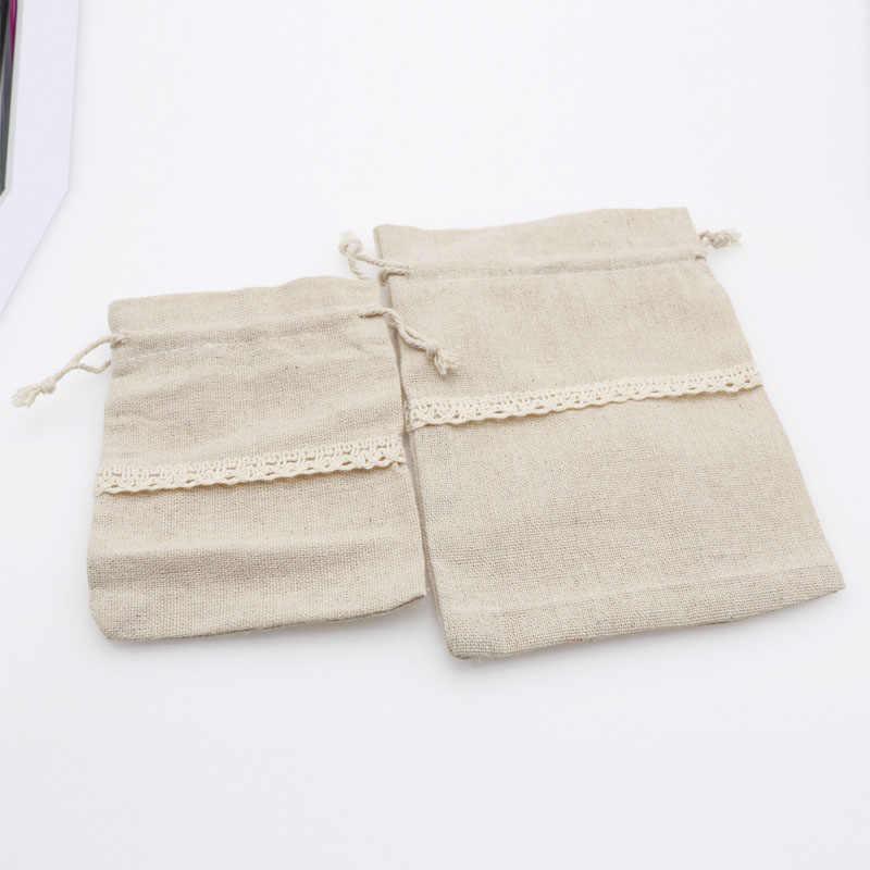 5 unids/lote de bolsas de algodón Natural 9,5x13 12x17,5 cm, bolsa de regalo con cordón, bolsa de muselina, cosméticos, Boutique, bolsas de embalaje de joyería de dulces