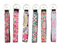 Lilly Pulitzer Key Chain Neoprene Rose Bag Charmer Keychain With Metal Buckles In Front for Wedding Favors Gift For Guest li4372