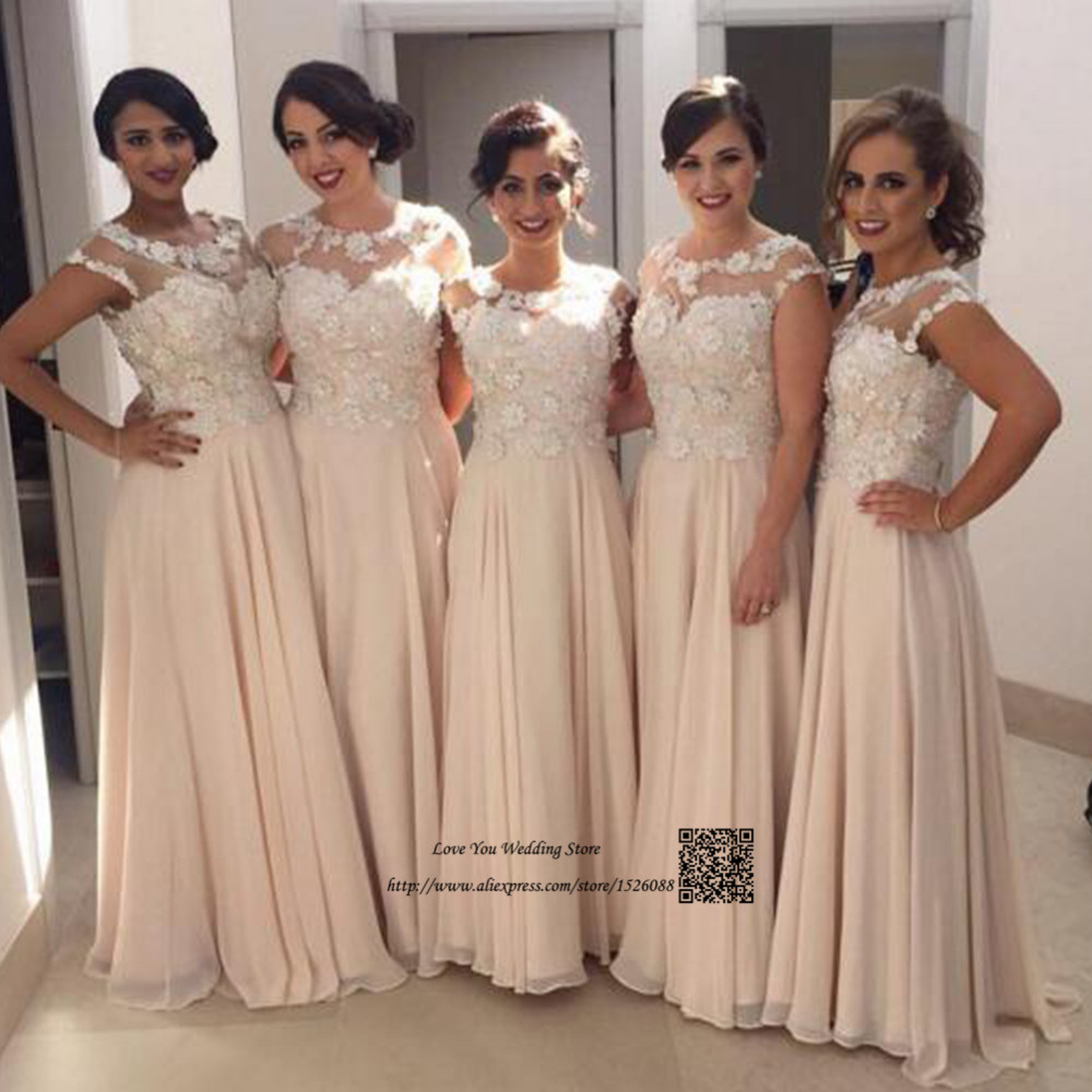 Champagne Vintage Wedding Dresses: Champagne Vintage Lace Bridesmaid Dress Long Wedding Guest
