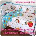 Promoción! 6 / 7 unids sistema del lecho del bebé rojo para las niñas bebé ropa de cama cuna cuna del lecho, 120 * 60 / 120 * 70 cm
