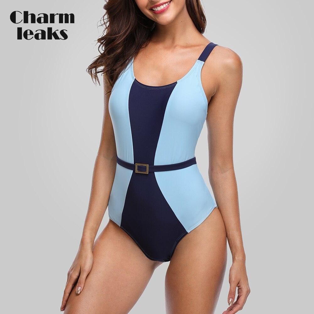 Charmleaks Women One Piece Swimwear Colorblock Swimsuit Backless Bathing Suit Beachwear Monokini Bikini