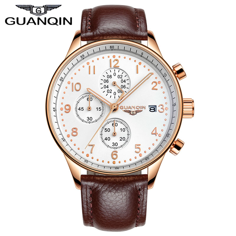 ФОТО GUANQIN New Fashion Luminous Leather Strap Multifunction Watches Men Quartz Watch Waterproof Wristwatches Male Table Relojes
