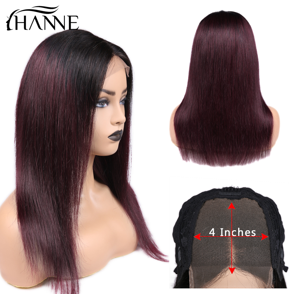 HANNE 4*4 Lace Closure Wigs 1B/#99J Color Ombre Human Hair Wigs With Baby Hair Straight 150% Density Brazilian Hair Wig In Stock