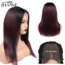 HANNE 4*4 Lace Closure Wigs 1B/#99J Color Ombre Human Hair With Baby Straight 150% Density Brazilian Wig in Stock