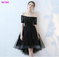 Real Photos Elegant Black Evening Dresses 2017 Boat Neck Organza Knee Lingth Prom Party Dress Short