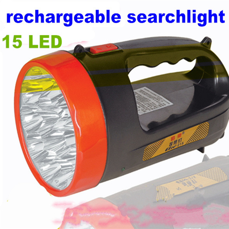 Portable rechargeable led spotlight 15 LED handheld searchlight flashlight for camping hunting outdoor lighting EU plug super bright portable marine searchlight 30w led flashlight rechargeable police torch fishing lamp camping led hunting spotlight