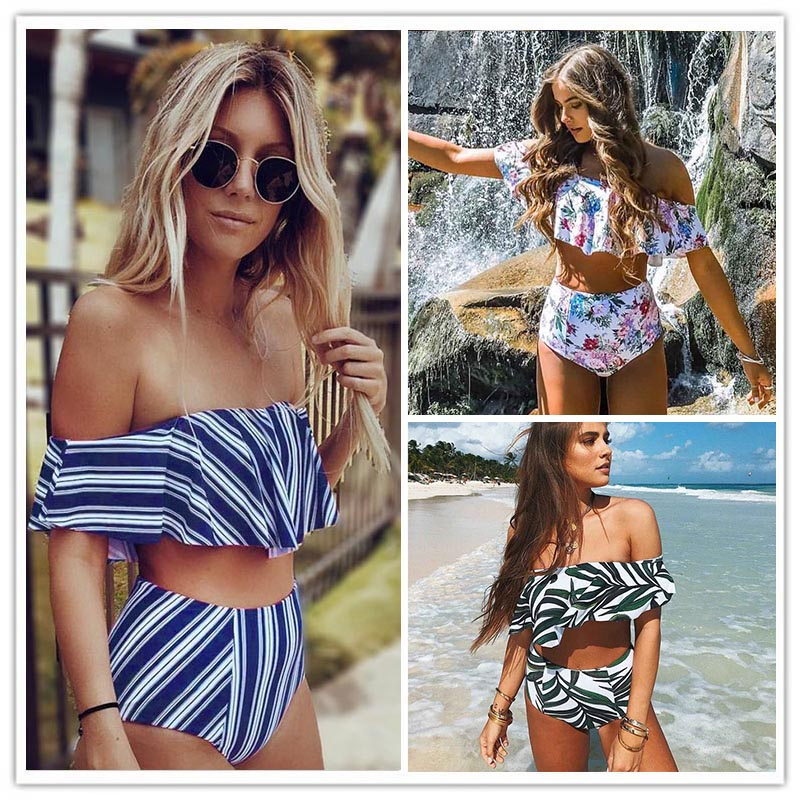 2017 Sexy bikini Set High Waist Swimwear Women Striped Biquini Ruffled Swim Bathing Suit White Blue Swimsuit Vintage Bikinis