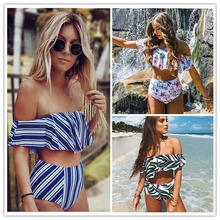 2017 Sexy bikini Set Cintura Alta Mulheres Swimwear Listrado Biquini Babados Nadar Maiô Branco Azul Maiô Biquínis Do Vintage