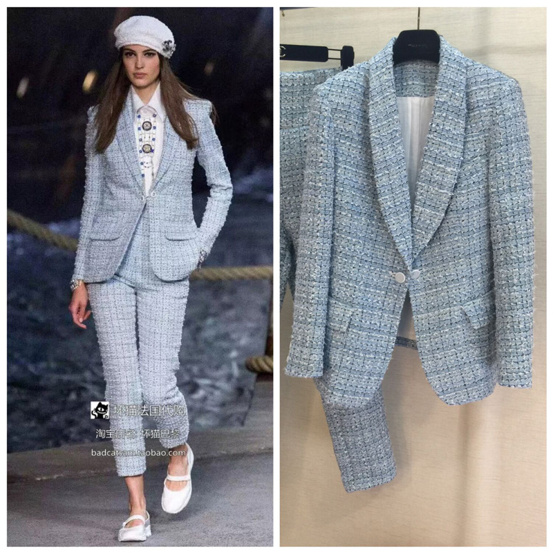 Suit trousers suit fashion sleek office style sky blue trousers long sleeves