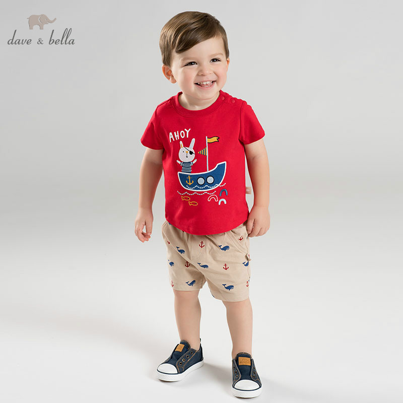 DBA9561 dave bella summer baby boy clothes children clothing sets infant toddler high quality tops shorts