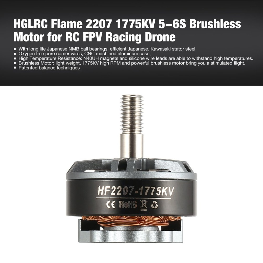 HGLRC Flame 2207 1775KV 5-6S Brushless Motor for RC FPV Racing Drone Airplane Helicopter Multicopter Propeller