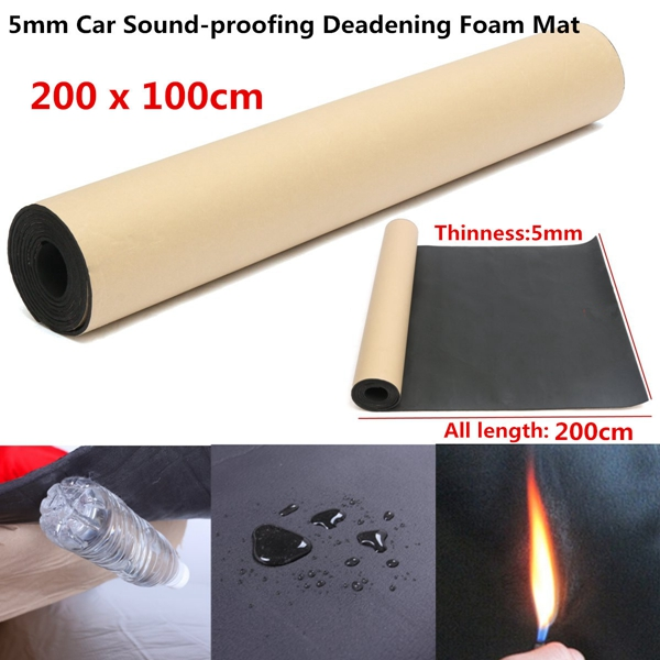 1 Roll 100cmx200cm 5mm Car Sound Heat Insulation Cotton Sound Proofing Deadening Insulation Foam Mat Acoustic Panel Self Adhesiv