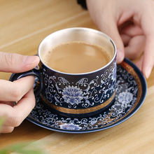 Ceramic S999 Sterling Silver Cup Coffee Mug Saucer Creative Gift Couple Travel Office Household Juice