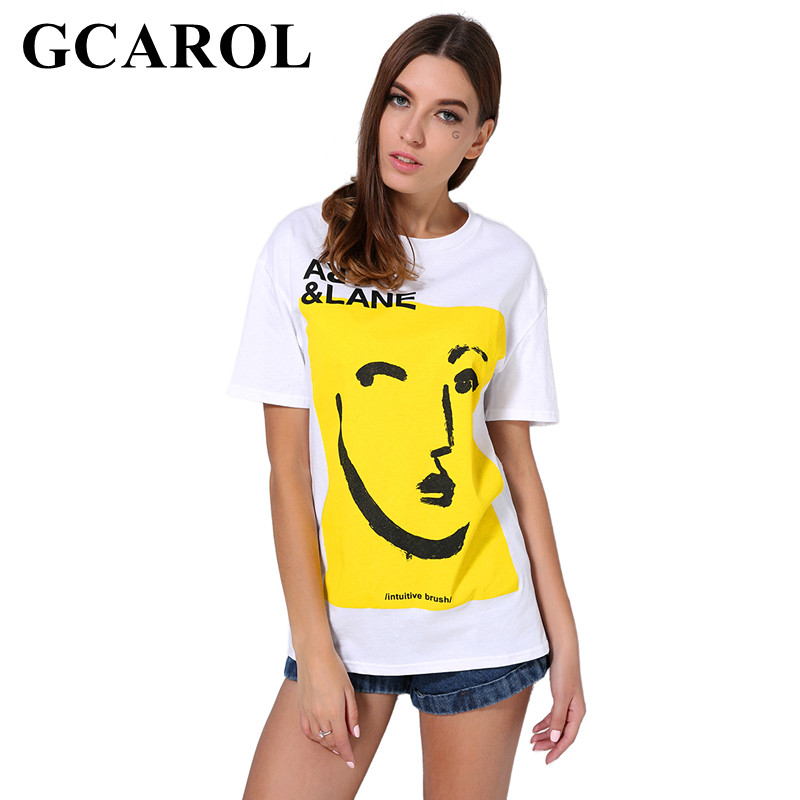 GCAROL 2018 Women Letter Cartoon Floral Printed T-shirt Oversize Casual Tees High Quality Summer Character White Basic Tops