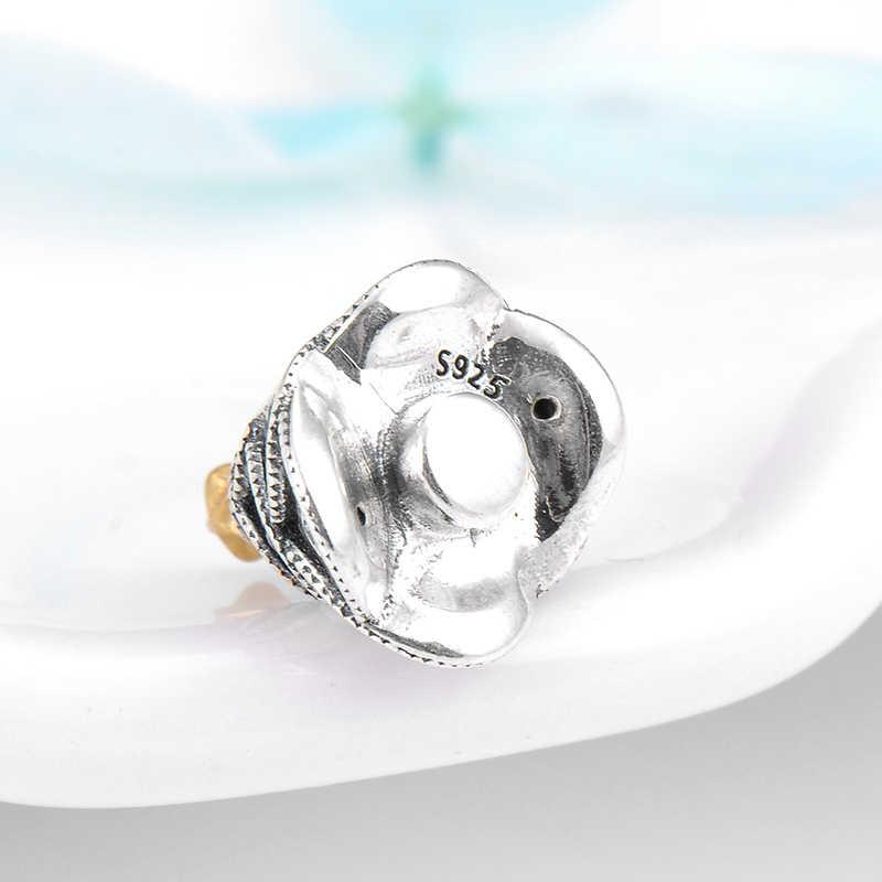 Подвески для рождественской ёлки, подлинные 925 пробы серебряные подвески с золотыми звездами из бисера, ювелирное изделие, оригинальный браслет Pandora