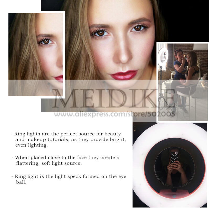 LED Ring Lamp FD-480II Beauty Studio LED Ring Light LED Lamp Bio-color Video Makeup Lighting + Stand (2M)+ Bag Photography Light