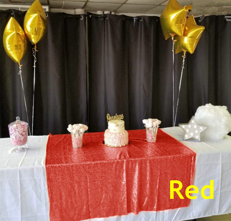 Red tablecloth 60x102in Glitter Round Rectangular Embroidered Sequin Table cover for Wedding Party Christmas Decoration