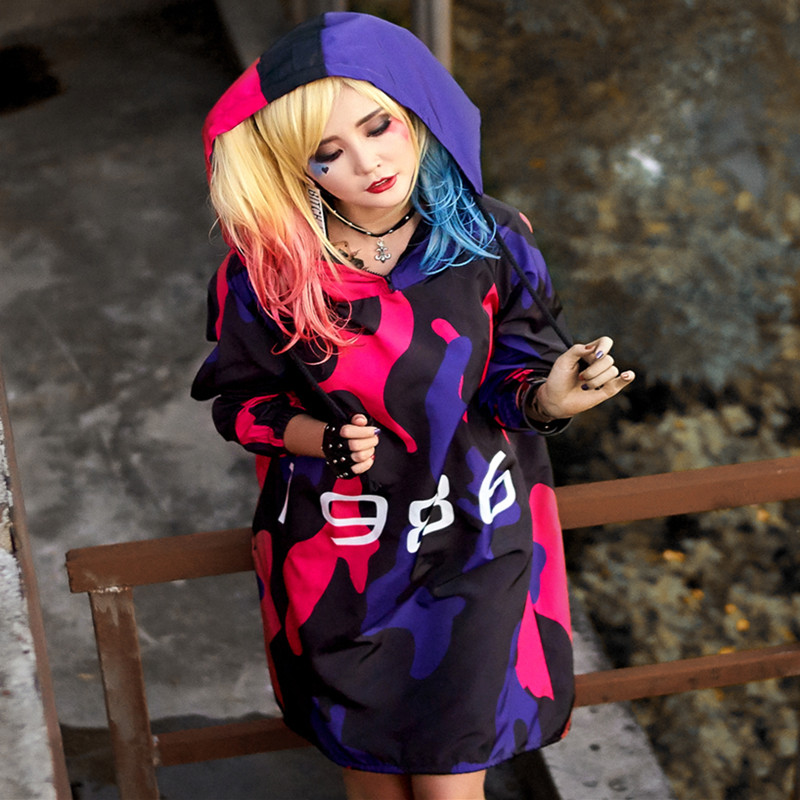 2018 Spring New   Trench   Coat for Women Large Size Loose Hooded Long Coat Woman 1986 Printed Camouflage Irregular Coats