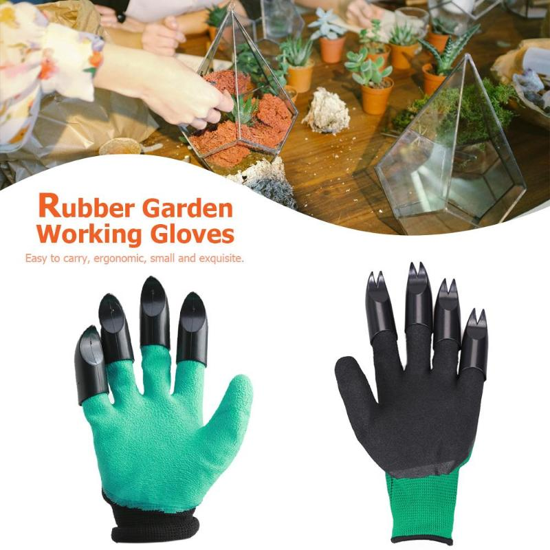 Practical 1 Pair Garden Gloves 4 ABS Plastic Garden Rubber Gloves With Claws For Household Greenhouse Digging