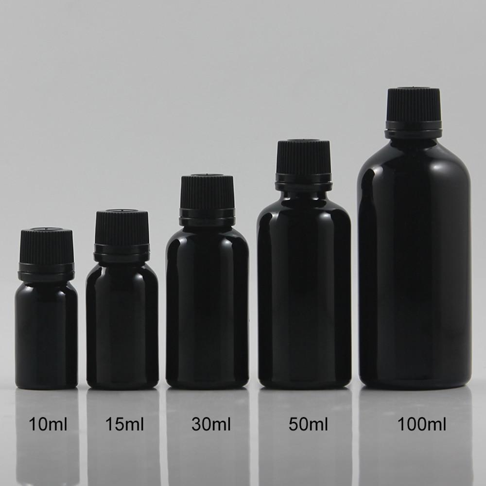 50 pcs 50 ml burglarproof brilhante essencial oleo garrafa garrafa de vidro preto com preto tampa