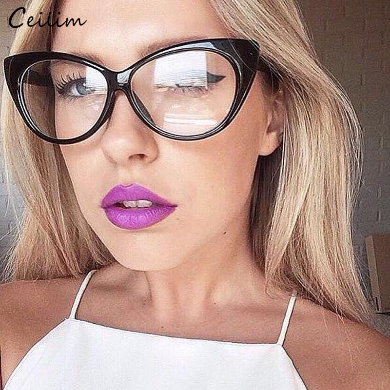 Vintage Lady Eyeglasses Cat Eye Clear Briller Luksus Brand Design 2018 Falske Briller Kvinder Black Leopard Optical Spectacle Frame