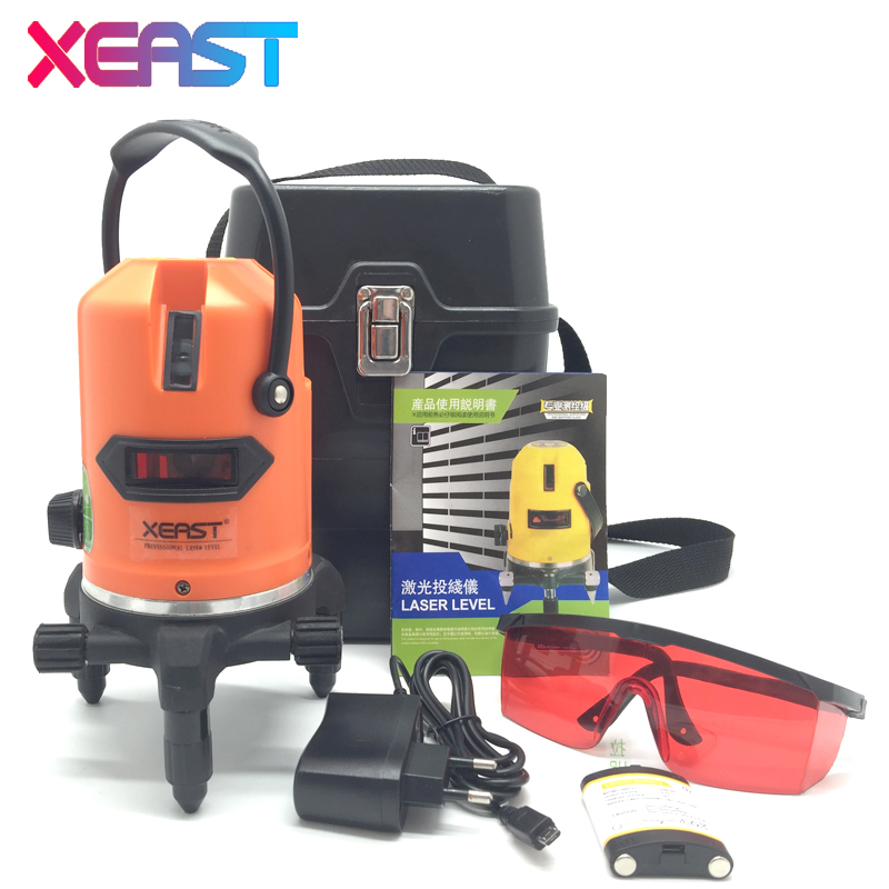XEAST Laser Level 5 Lines 6 Points Level Tilt Function 360 Rotary Self Lleveling Outdoor EU 635nm Corss Line Lazer Level Tools kaitian laser level 5 lines 6 points with battery tilt function 360 rotary self leveling detecto 635nm lazer level eu leveler