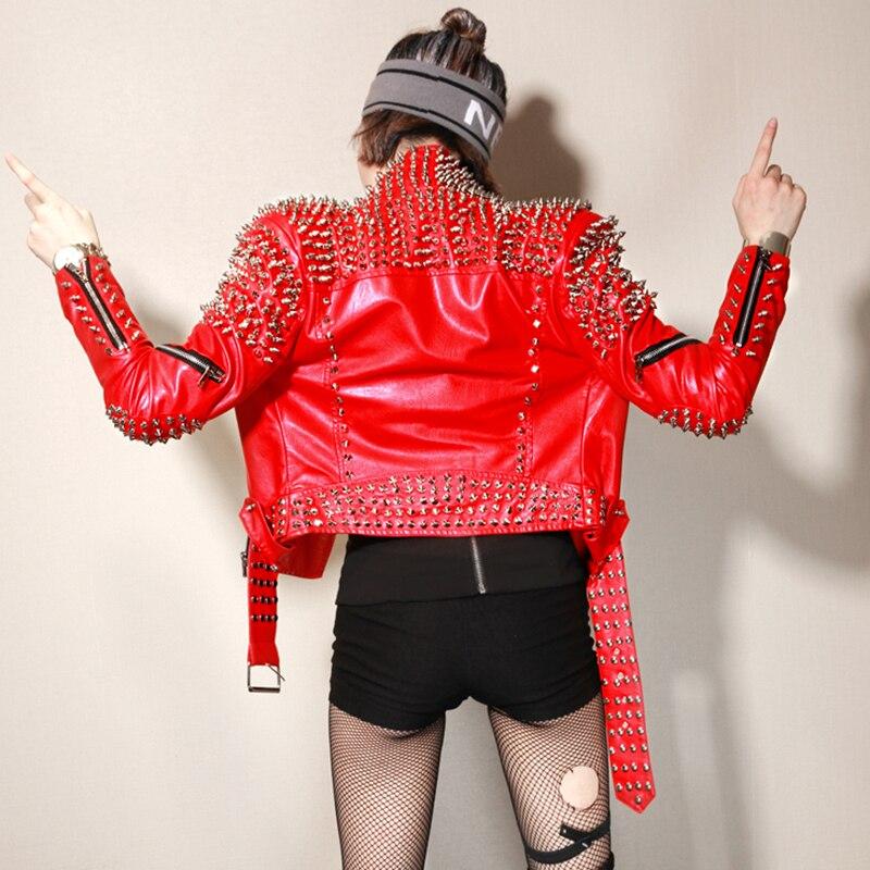 Manteau Mince Veste En Rouge down Courte Rock Turn Sexy Dj Femelle Rivet Printemps Collier Zipper Femmes Moto Club Cuir Pu SXW8xpfF