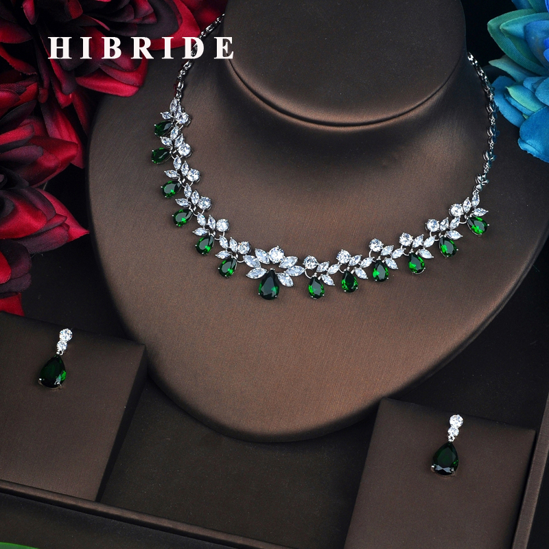 HIBRIDE Flower Shape Green Stone Dubai Jewelry Sets For Women Pendant Set Dress Accessories Brilliant Jewelry Necklace Set N-581 hibride luxury new butterfly shape earring necklace jewelry set women party jewelry small link pendant brincos bijoux n 643