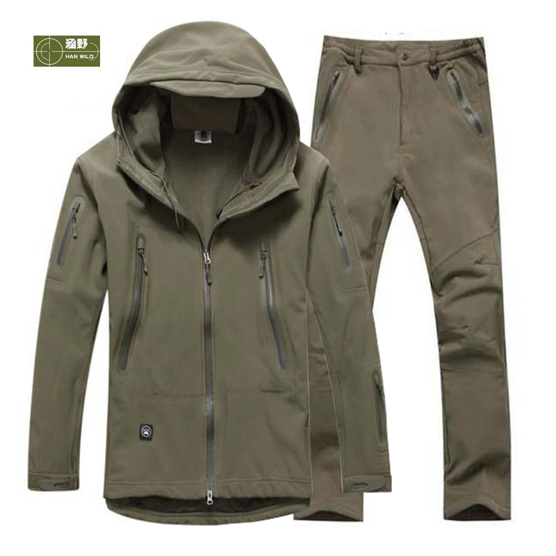 HANWILD Man Professional Waterproof Fishing Softshell Tactical Military Jacket Army Sport SoftShell Hunting Pant set Hiking S14 цены онлайн