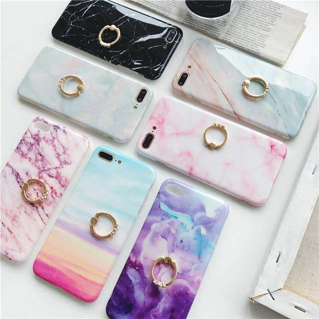 Luxury Rhinestone Marble Phone Case For iPhone 7 6S Case For Xs Max Xr X 7 6 Plus 7Plus Kickstand Ring Buckle Cover Holder