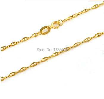 Hot sale  Yellow gold  Necklace chain  1g Stamp AU750  1.6mm Width