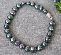 charming 16mm black shell pearl necklace zircon clasp