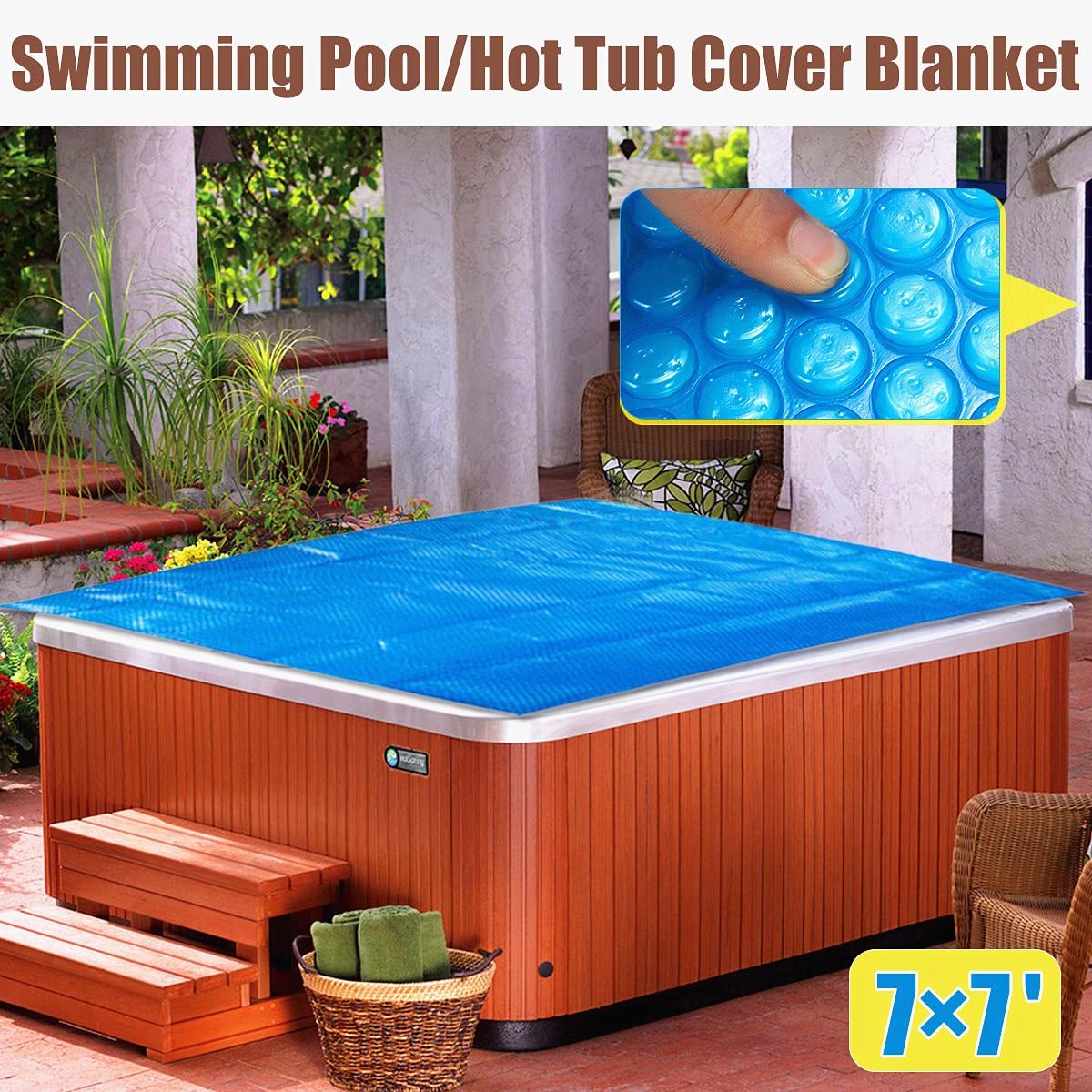 210x210 cm Carré Famille Piscine Piscine jacuzzi Couverture Couverture Enfant Adulte Enfants Bleu Jardin Balcon En Plein Air Jouer couverture de piscine