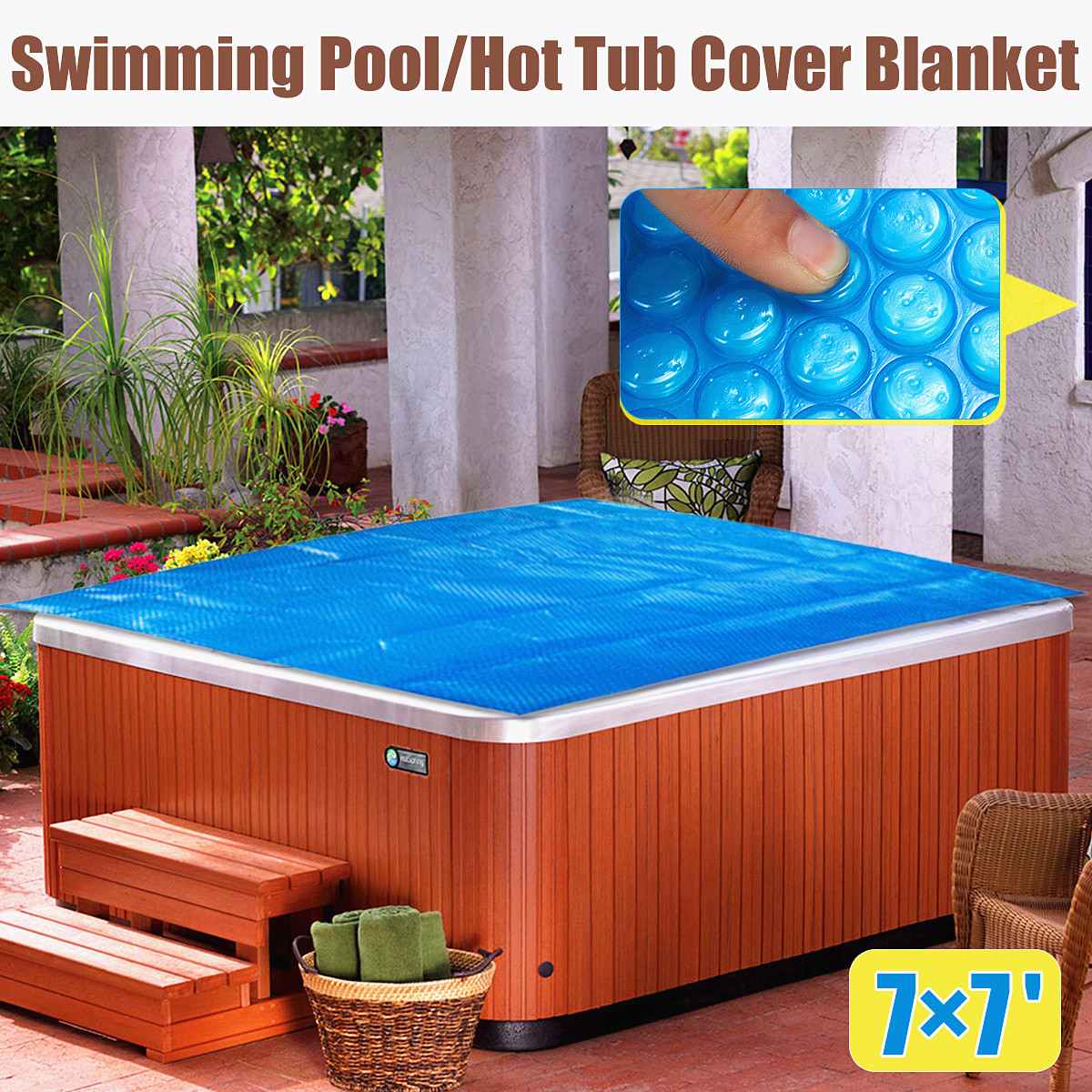 Jacuzzi Pool Covers Us 51 79 6 Off 210x210cm Square Family Pool Swimming Pool Hot Tub Cover Blanket Kid Adult Children Blue Garden Balcony Outdoor Play Pool Cover In