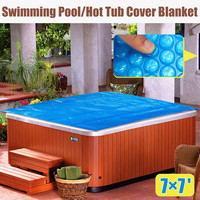 210x210cm Square Family Pool Swimming Pool Hot Tub Cover Blanket Kid Adult Children Blue Garden Balcony Outdoor Play Pool Cover