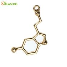 8SEASONS Zinc Based Alloy Molecule Chemistry Science Charms Pendants Dopamine gold-color 25mm(1″) x 13mm( 4/8″), 10 PCs