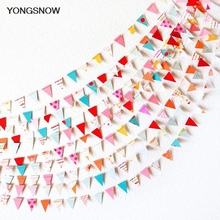 4m Small Paper Flags Hanging Paper Garland Wedding Bunting Banner Baby Shower Birthday Decoration String Streamer Party Supplies