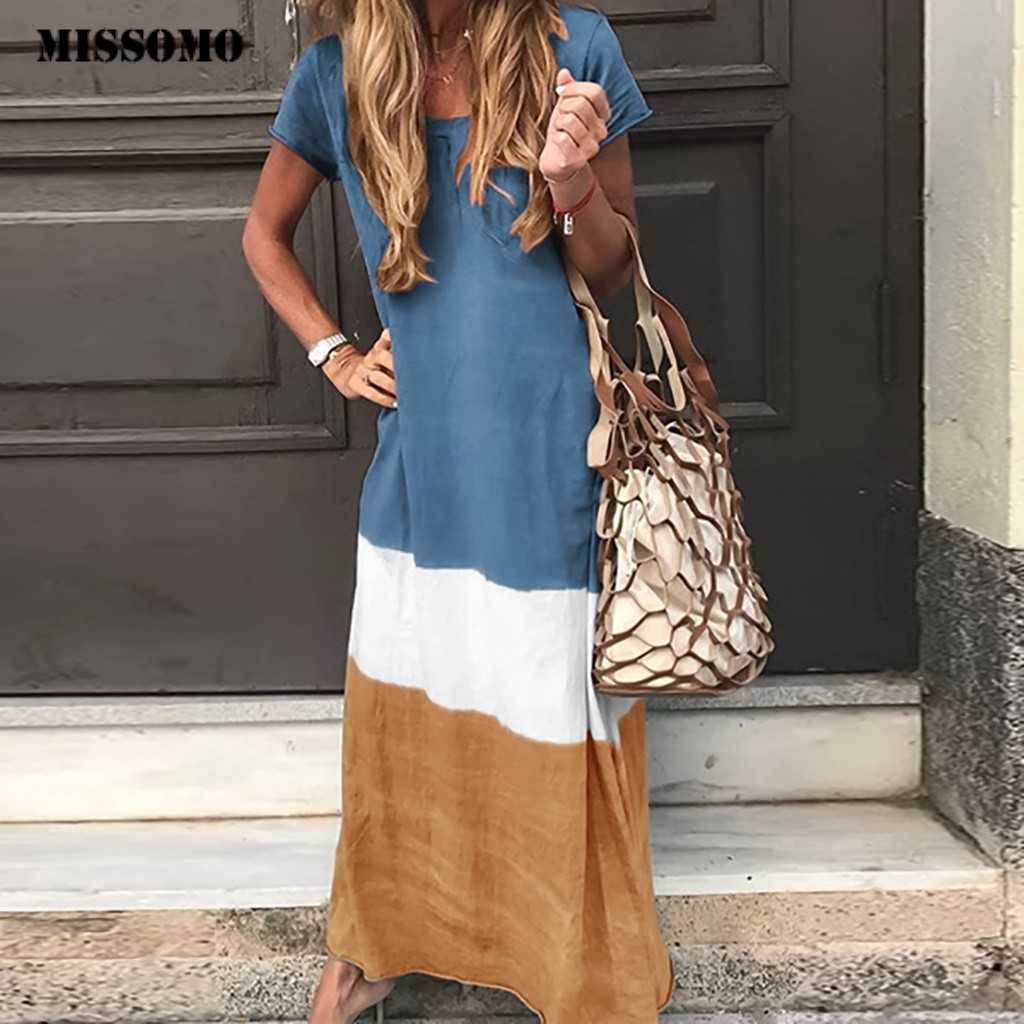 MISSOMO Maxi dress Women Loose Color Block Patchwork Maxi Long Dress Short Sleeve Casual beach Summer Dress women Streetwear 619