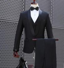Black chorus singer star style stage clothing for men groom suit set with pants 2019 mens wedding suits costume formal dress tie pyjtrl men five piece set europe style court marshal clothing groom wedding red mens suits party stage singer costume