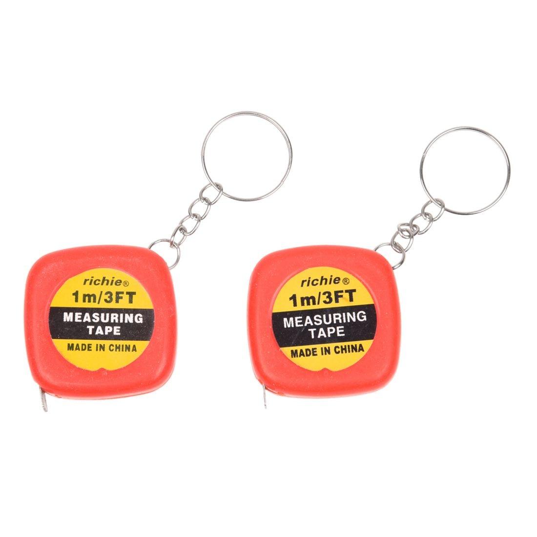 2 Stücke Multifunktions Rot Fall 1 Meter 3 Füße Mini Maßband W Schlüssel Ring Farben Sind AuffäLlig