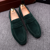 QWEDF Brand New 2019 Black Men Loafers Shoes Luxury Slip on Moccasins Casual Men Shoes Suede Leather Men's Flats Shoes SY 32