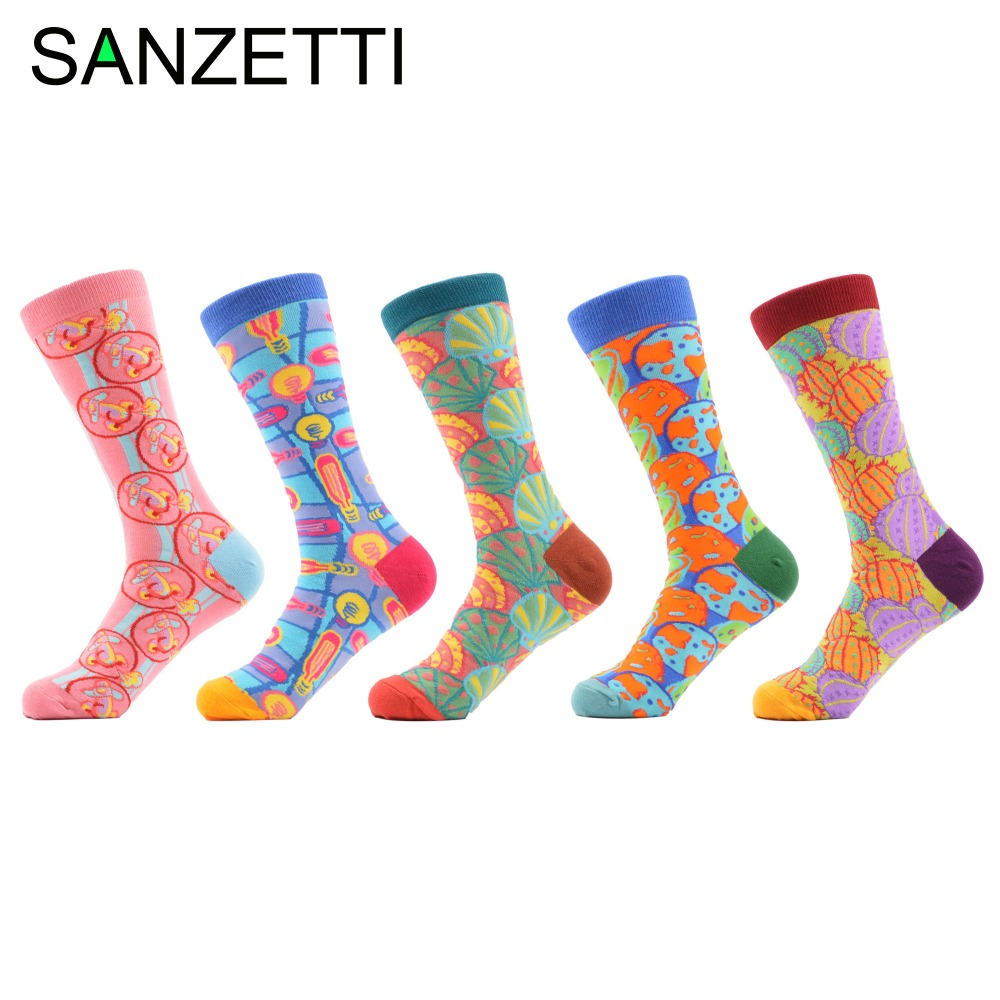 SANZETTI 5 pairs/lot Mens Colorful Fruit Pattern Combed Cotton Socks Casual Dress Crew Socks for Winter Happy Sock Wedding Gift